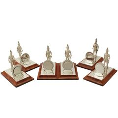 Vintage Set of Six Sterling Silver Menu Holders, Elizabeth II