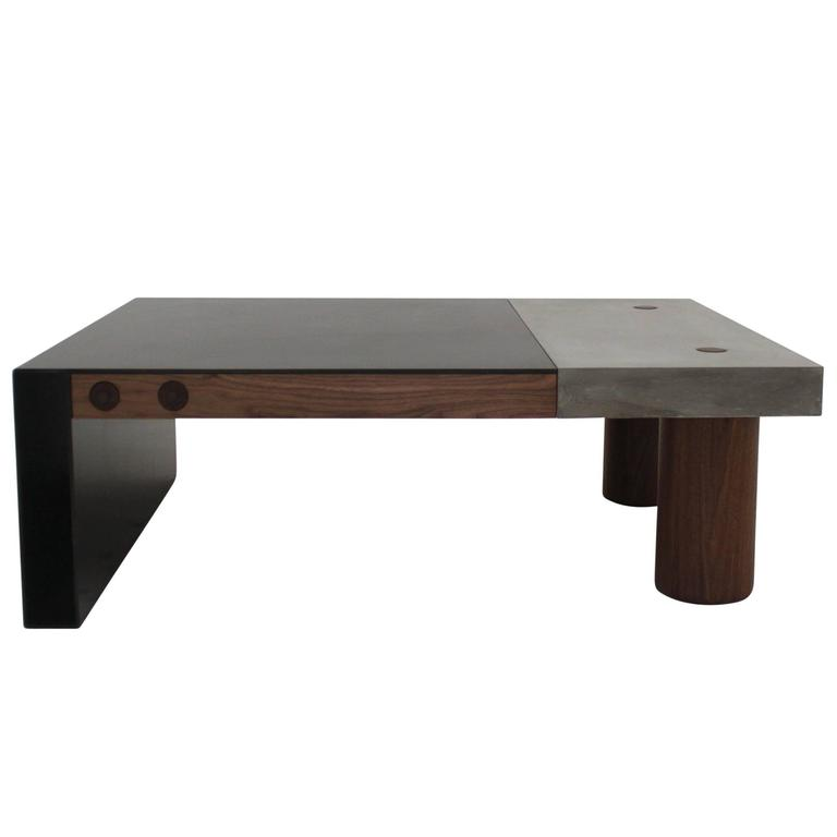 "Cast Concrete, Hand-Blackened Steel and Walnut ""Paradigm Coffee Table"" 1"