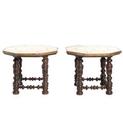 Brass-Top Moroccan Side Tables