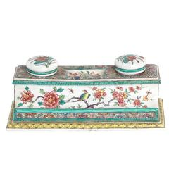 Porcelain Chinoiserie Inkwell