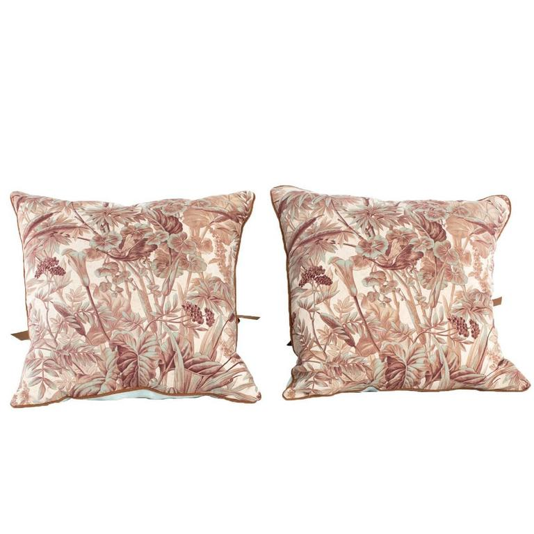 Vintage Decorative Throw Pillows : Decorative Pillows in Antique French Verdure Fabric For Sale at 1stdibs