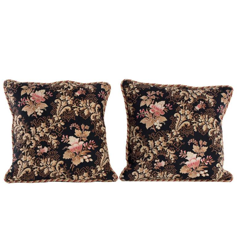 Decorative Pillow in Antique French Fabric For Sale at 1stdibs