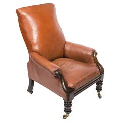 19th Century William IV Brown Leather Armchair