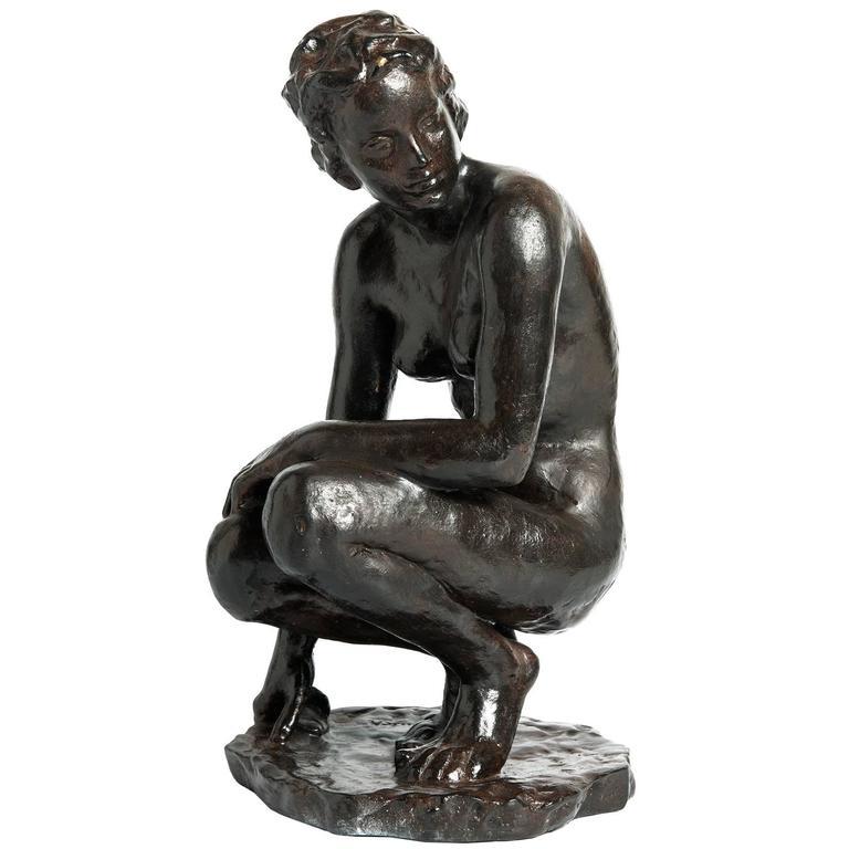 """Fritz Klimsch Bronze Sculpture """"Die Sitzende"""""""