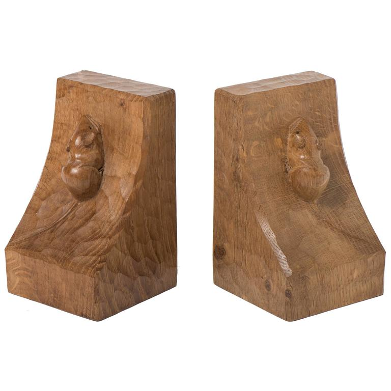 "Robert ""Mouseman"" Thompson pair of oak bookends, England circa 1970"