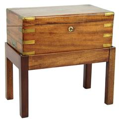 English Geo III Mahogany Writing Box on Later Stand with Brass Inlay, Side Table