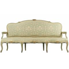 French Louis XV Style Green Painted Antique Settee Sofa, 19th Century