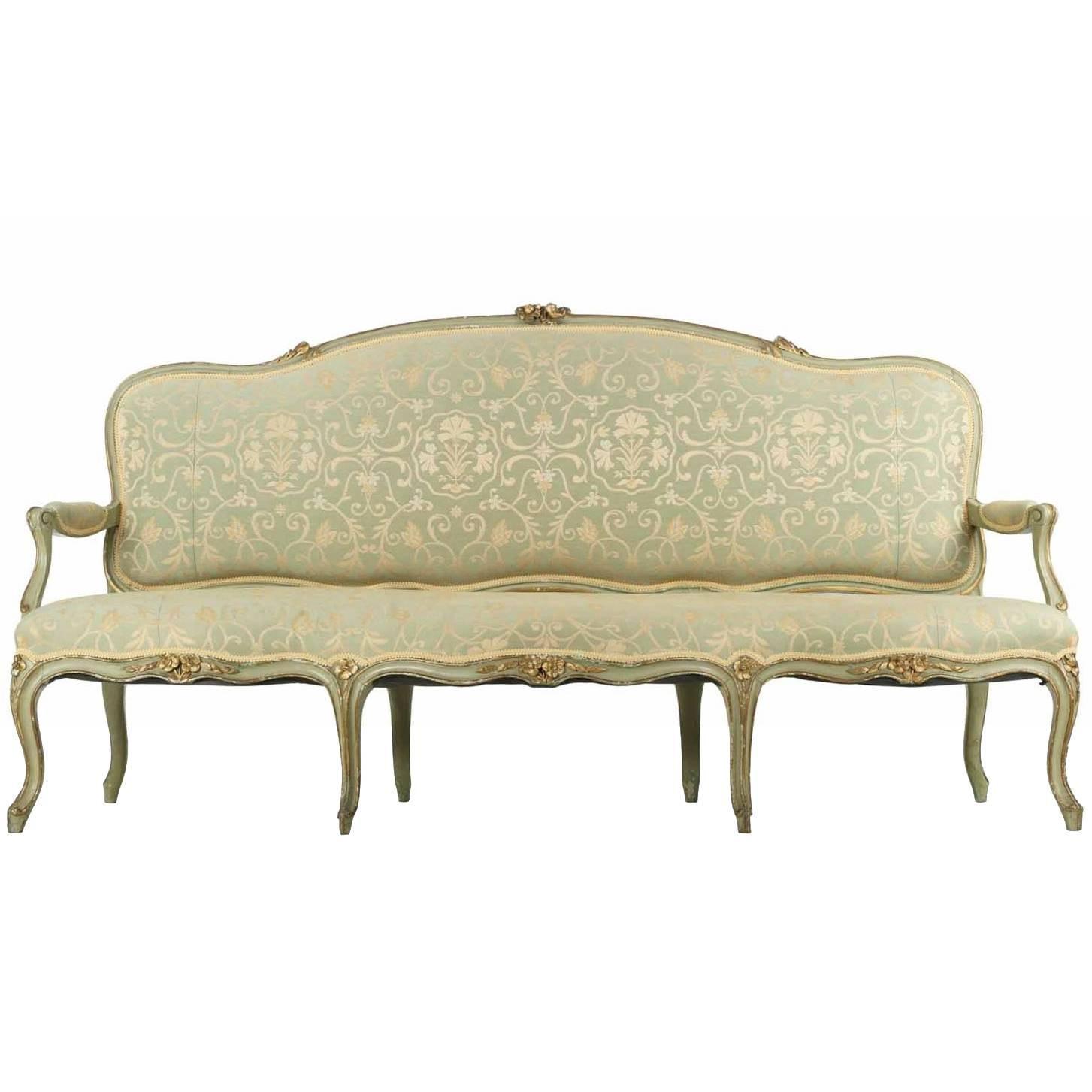 French Louis Xv Style Green Painted Antique Settee Sofa 19th Century At 1stdibs