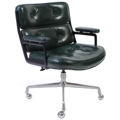 Time Life Chair by Eames for Herman Miller in Green Leather