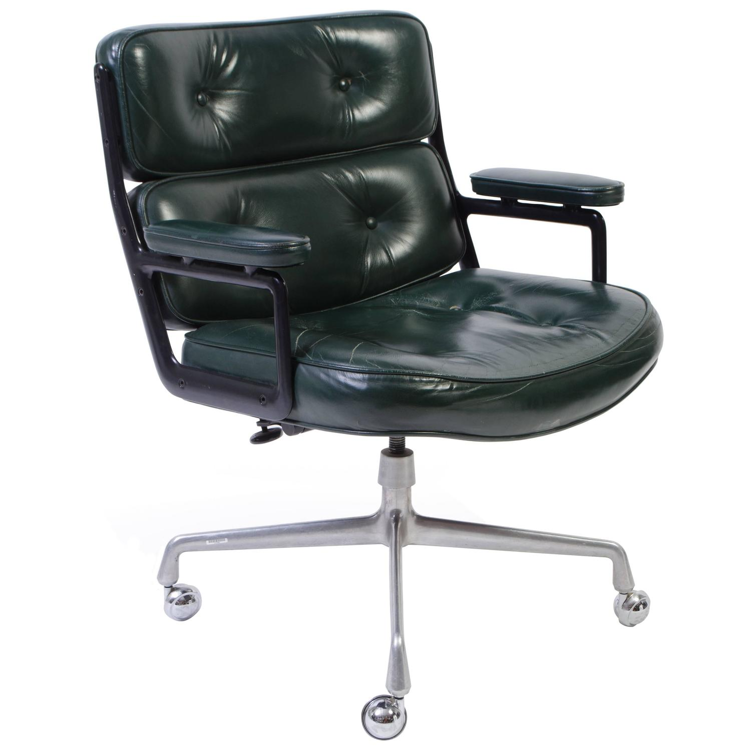 Time Life Chair by Eames for Herman Miller in Green Leather at 1stdibs