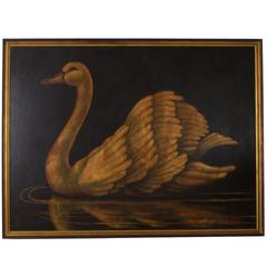 Mid-Century Oil on Canvas of a Swan by Reginald Baxter