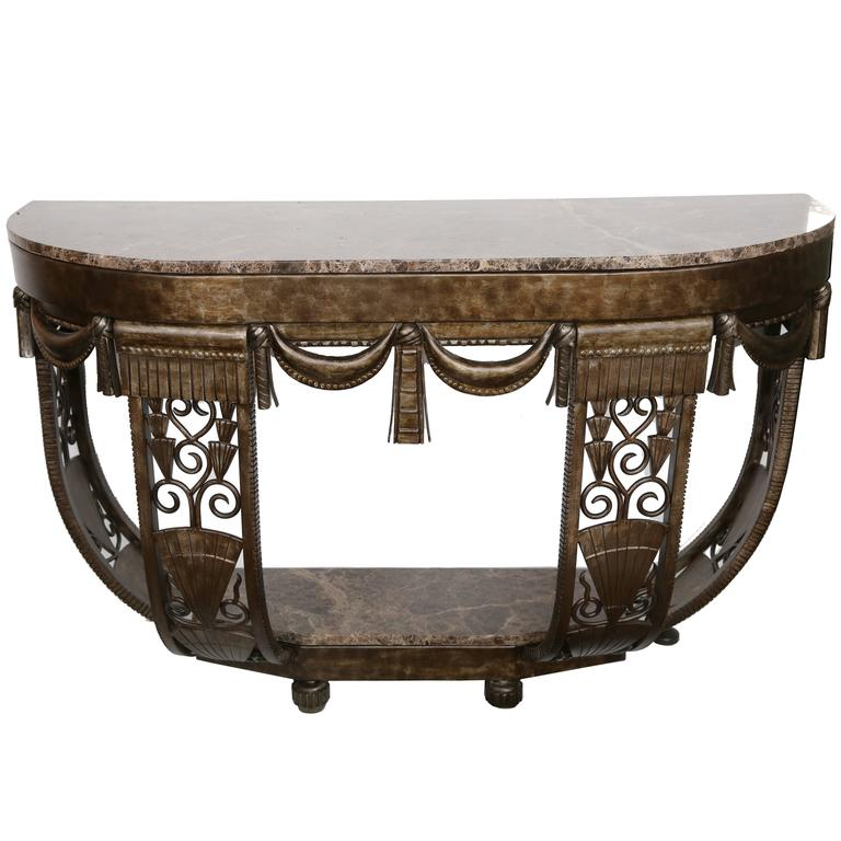French Art Deco Forged Iron And Marble Console In The Style Of Edgar Brandt