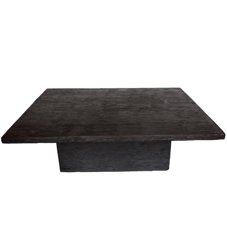 Custom Reclaimed Wood Cube Coffee Table In Espresso Finish For Sale At 1stdibs