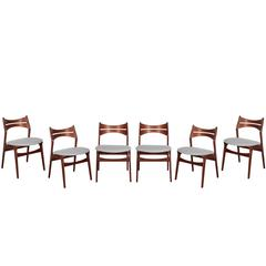 Mid Century Modern Dining Chairs by Erik Buch, Set of Six