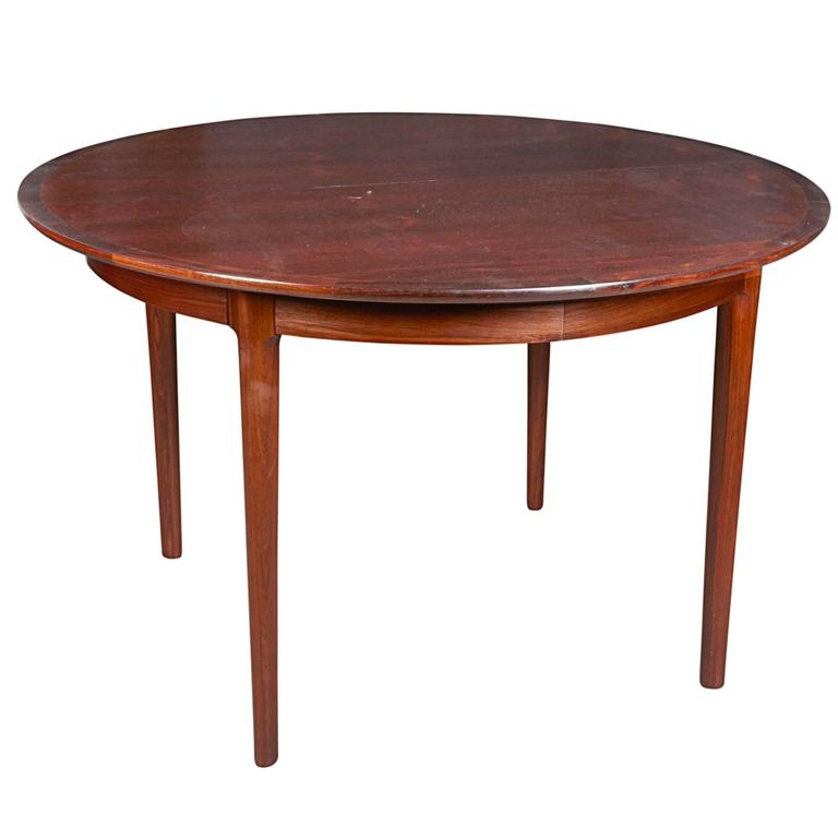 Mid Century Round Rosewood Dining Table by Torbjørn Afdal at 1stdibs