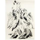 """Jump Shot,"" Rare Early Basketball Scene, 1930s Art Deco Drawing"