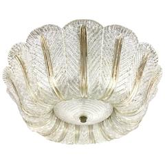 Venini Textured Glass Ceiling Fixture