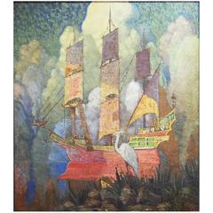 """Sailing the Old Florida Coast,"" Jewel-Toned Painting with Spanish Ship & Egret"