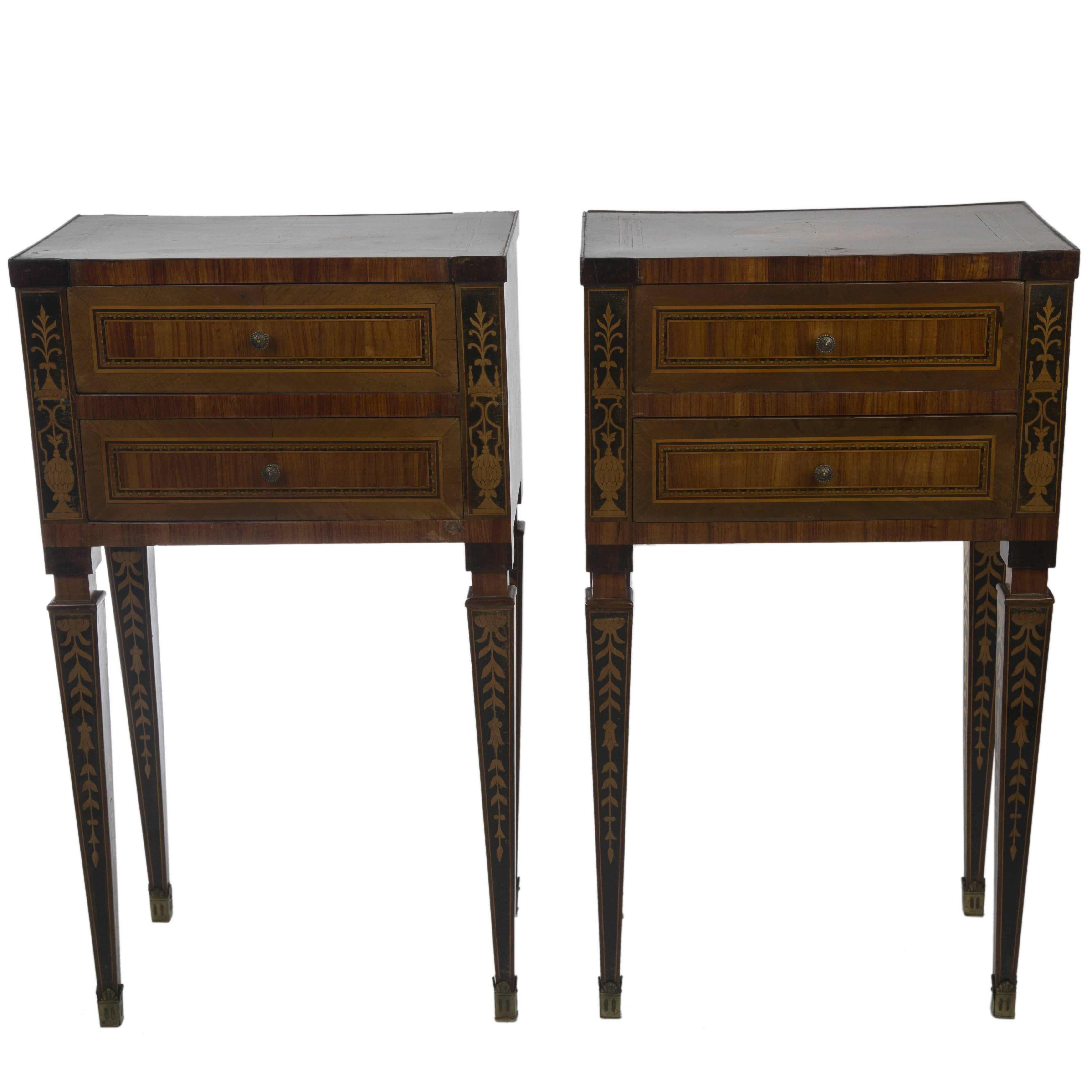 Pair of Louis XVI Style Marquetry Night Tables
