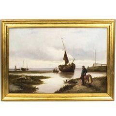 Antique Oil Painting Scotish Seascape John Henry Boel, 1902