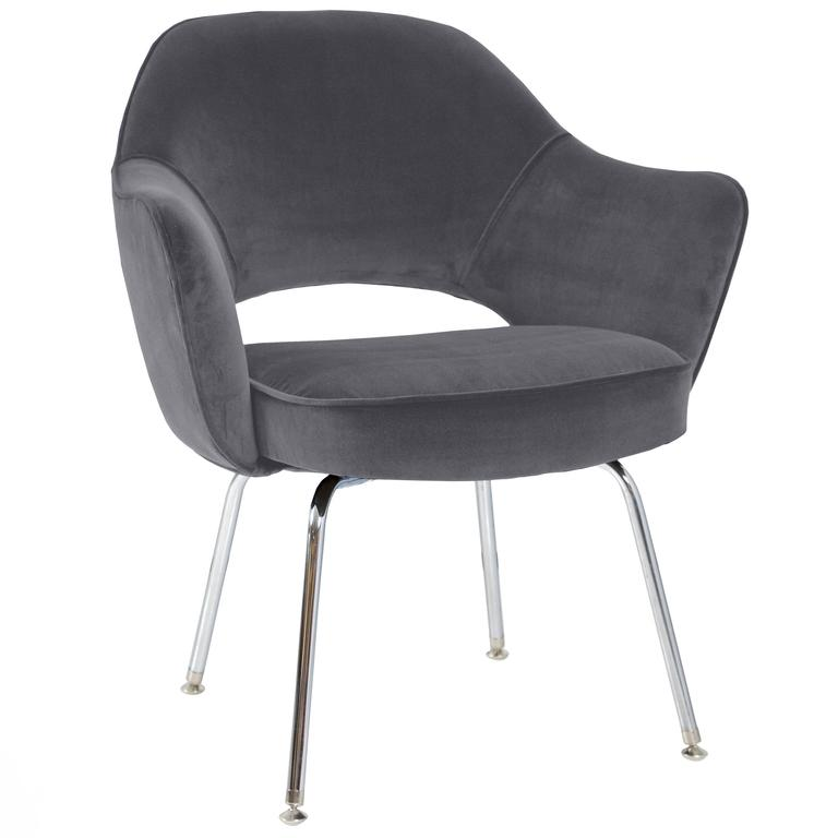 Saarinen for knoll executive arm chairs in grey velvet