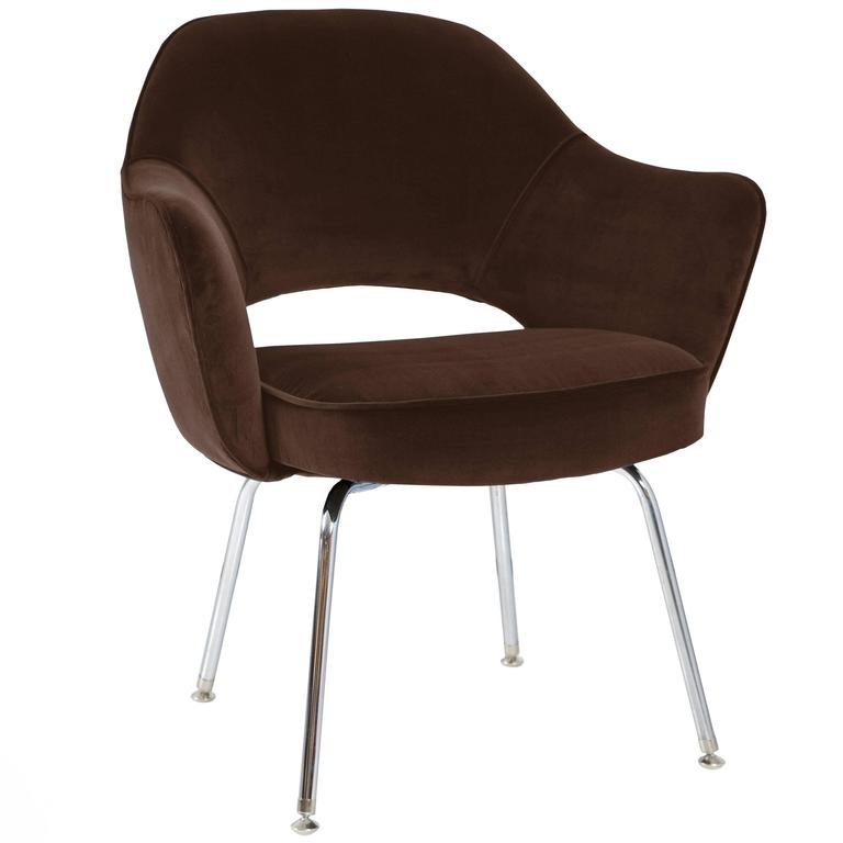 saarinen for knoll executive arm chairs in espresso velvet for sale at