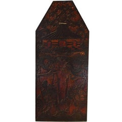 Antique Hand-Carved and Painted Indonesian 20th Century Wooden Puppet Show Sign