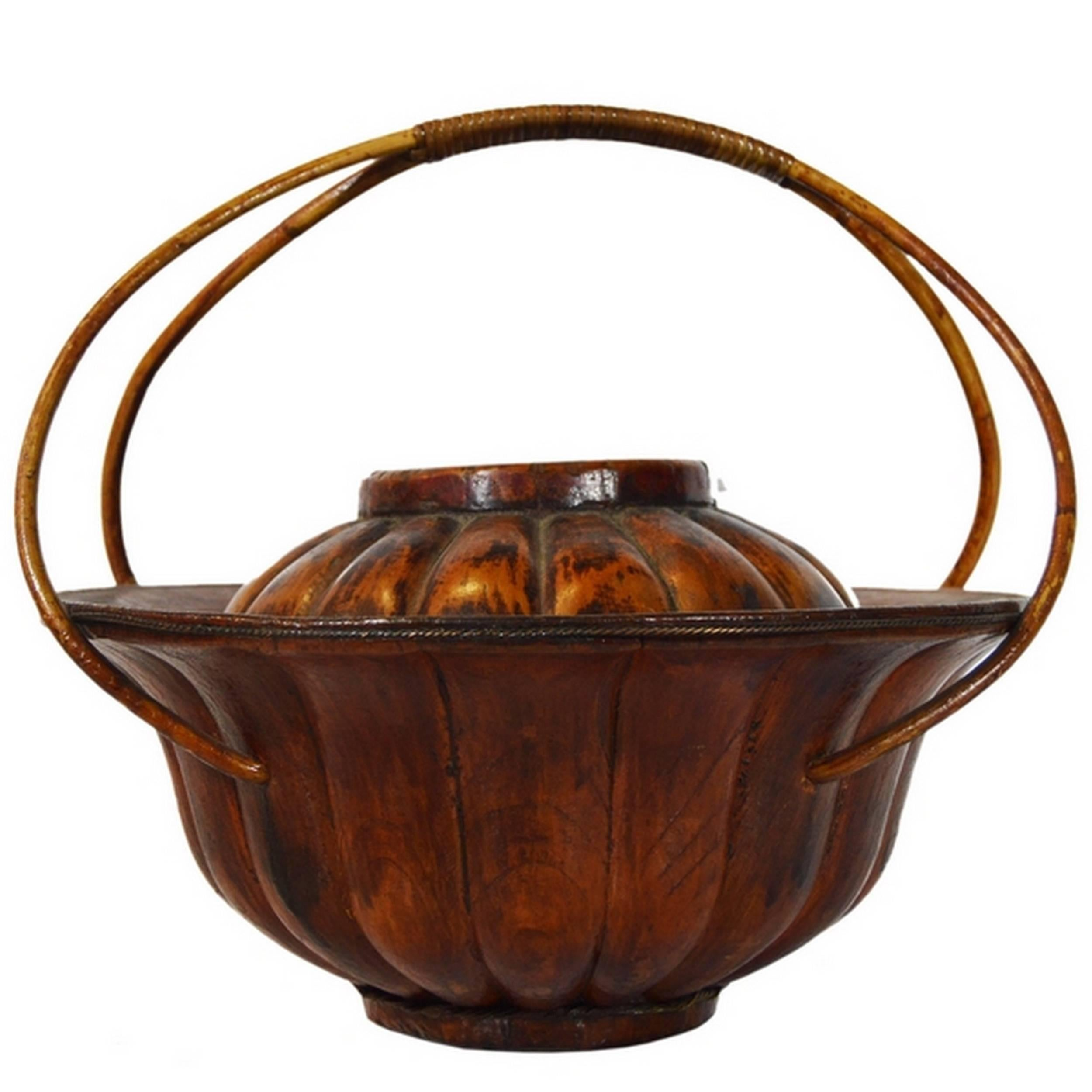 Chinese Varnished Bamboo Hat Basket from the 19th Century Painted with Flowers