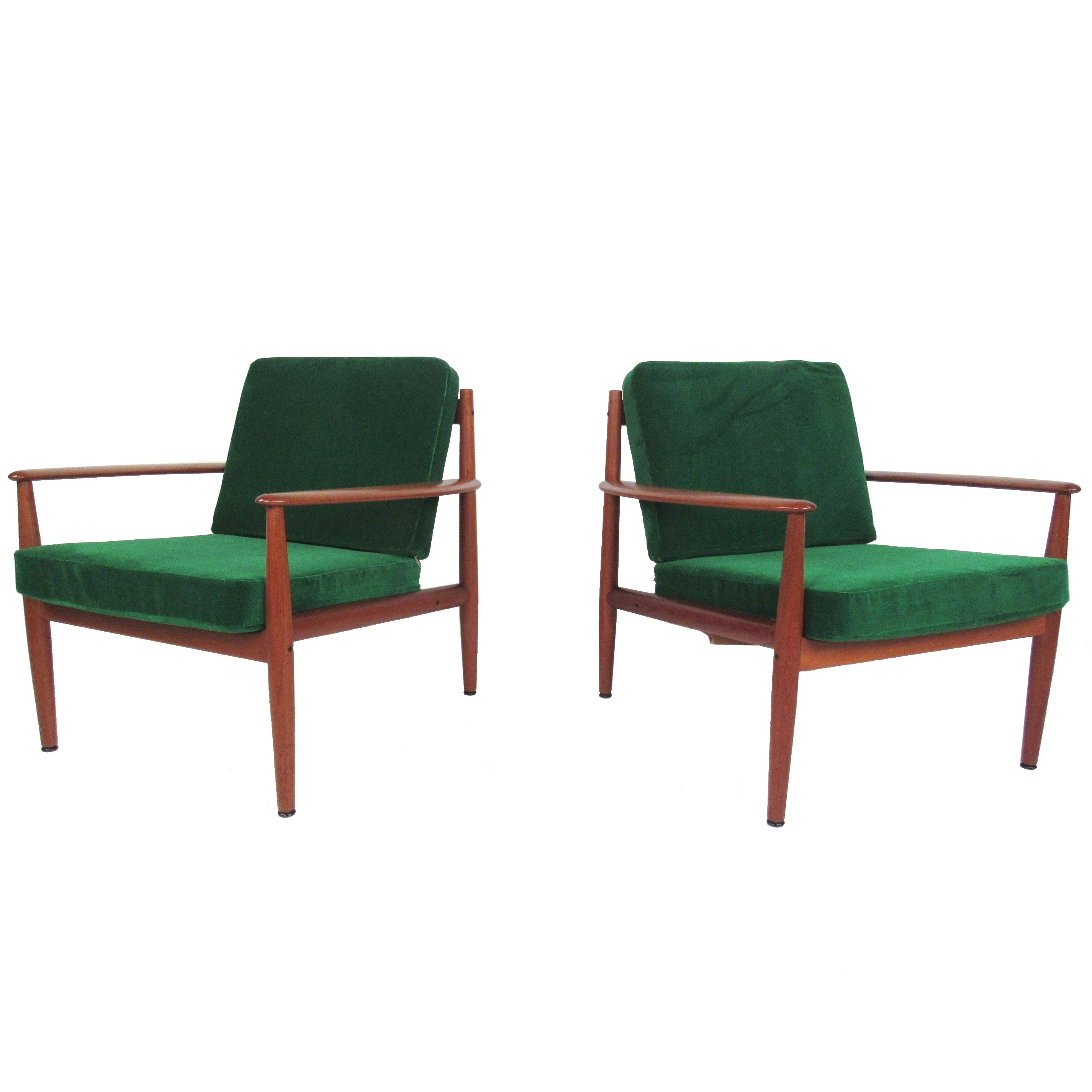 Pair Scandinavian Modern Teak Armchairs by Grete Jalk for France and Son