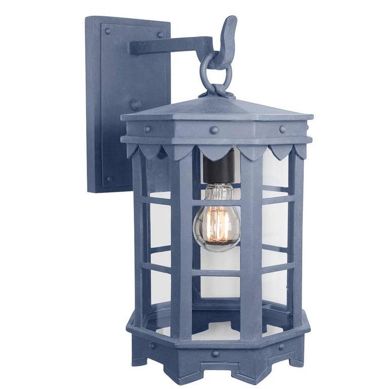 Detailed Spanish Wrought Iron Exterior Arm Mount Lantern with Dark Zinc Finish For Sale