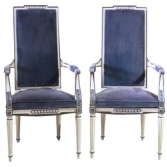 Pair Regency Style Cream Painted Side Chairs