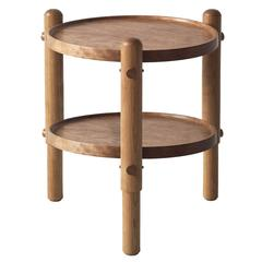 Workstead Side Table in Cherry with Turned Wooden Legs and Circular Tabletop