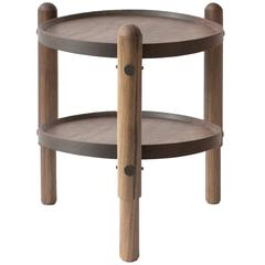 Workstead Side Table in Walnut with Turned Wooden Legs and Circular Top