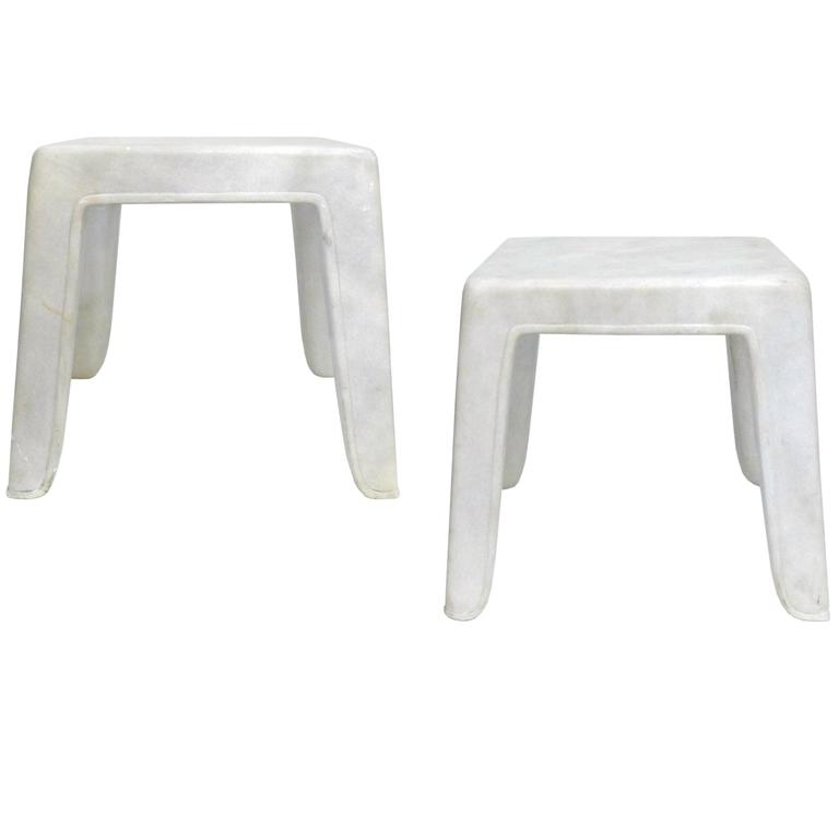 Pair of Carved Solid Marble Side Tables or Stools