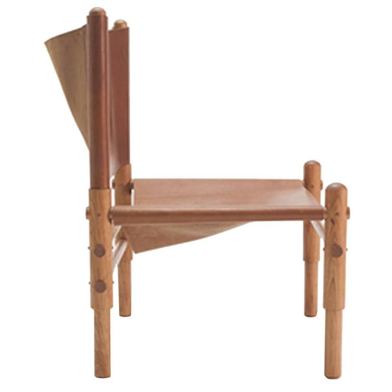 Workstead Sling Chair In Cherry With Turned Wooden Legs