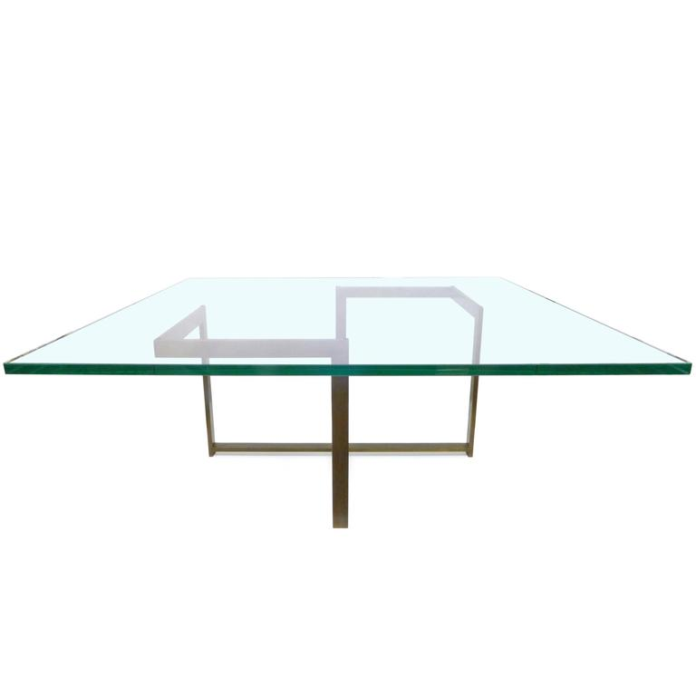 Square Bronze and Glass Coffee Table