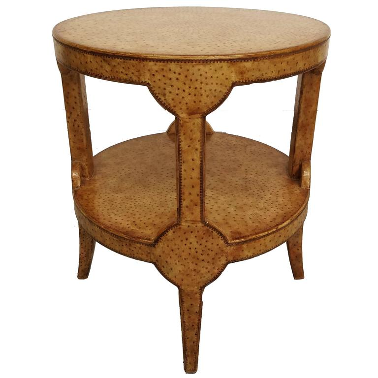 Ostrich Leather Occasional Side Table By Maitland Smith At 1stdibs