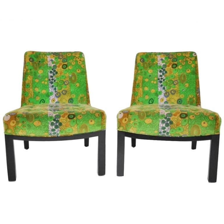 Very Rare Original Jack Lenor Larsen Fabric On Edward Wormleyu0027s Slipper  Chairs 1