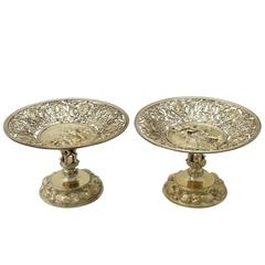 Antique German Silver Gilt Tazzas or Centerpieces, circa 1860