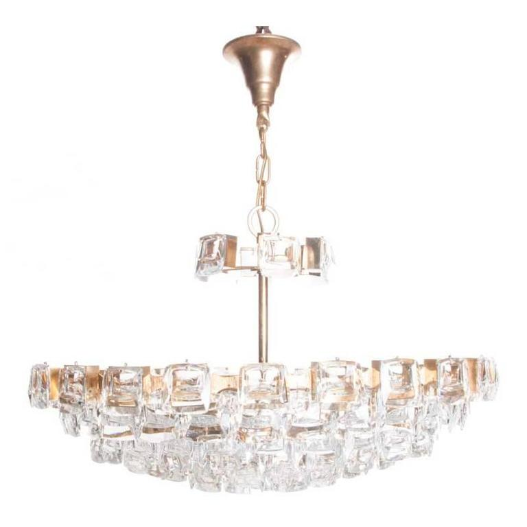 1960s, Crystal and Brass Six Lights Chandelier by Palwa