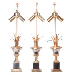 1960s Brass and Nickel Table lamps attributed to Maison Charles