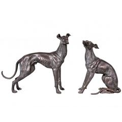 Pair of Life Size Whippet Bronze Figures