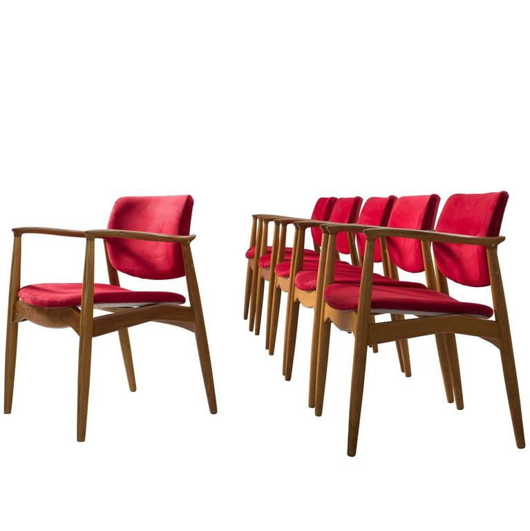 Erik Buck Set of Six 'Captains' Armchairs in Oak and Red Fabric Upholstery