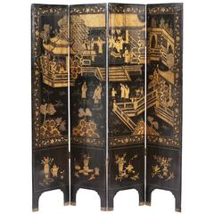 Chinese 19th Century Four-Panel Lacquer Screen