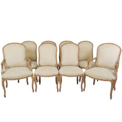 Eight Louis XVI Style Upholstered Dining Chairs