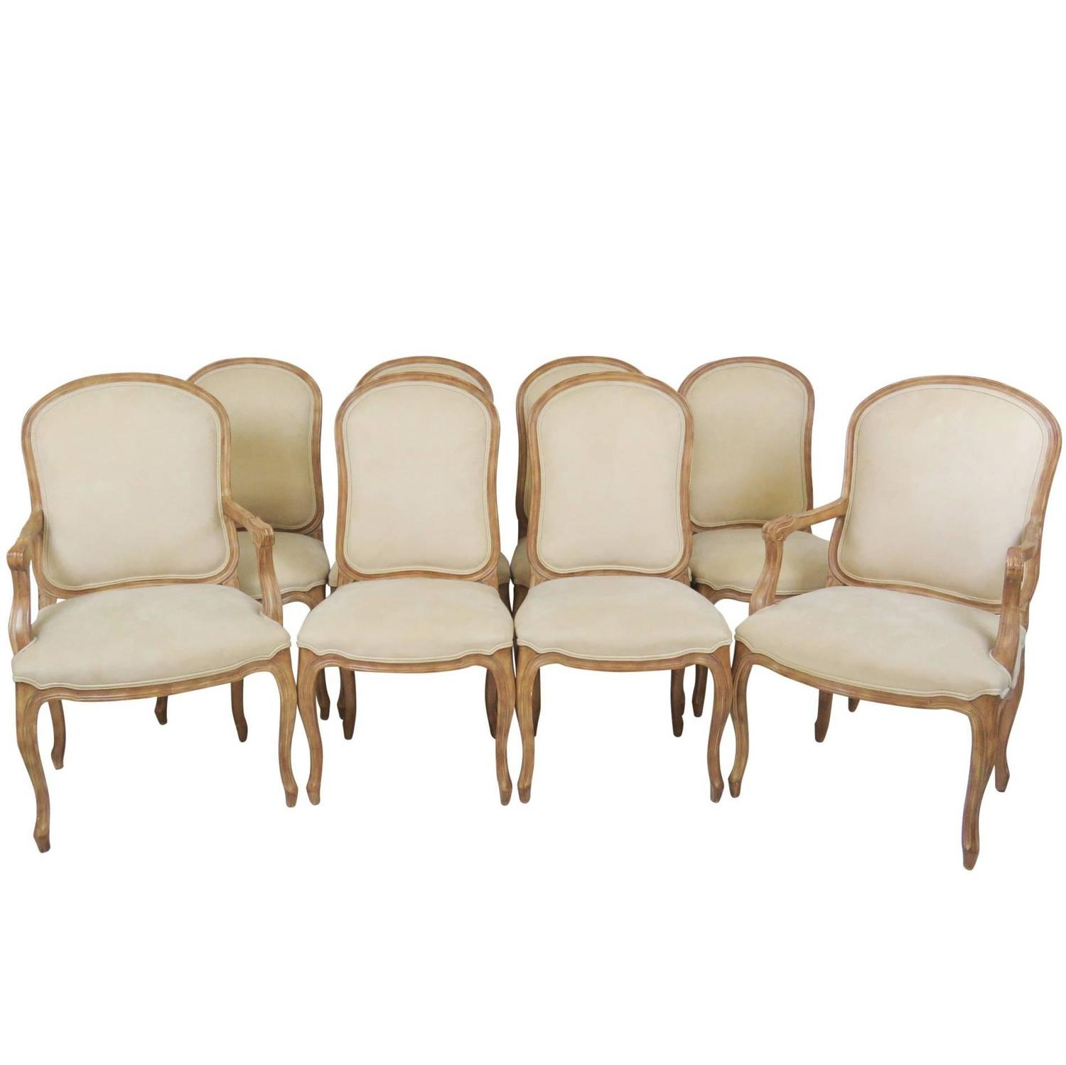Eight louis xvi style upholstered dining chairs for sale for Upholstered dining chairs for sale