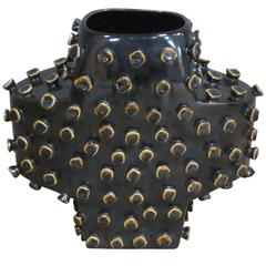 Black and Gold Cross Shaped Vase, France, Contemporary