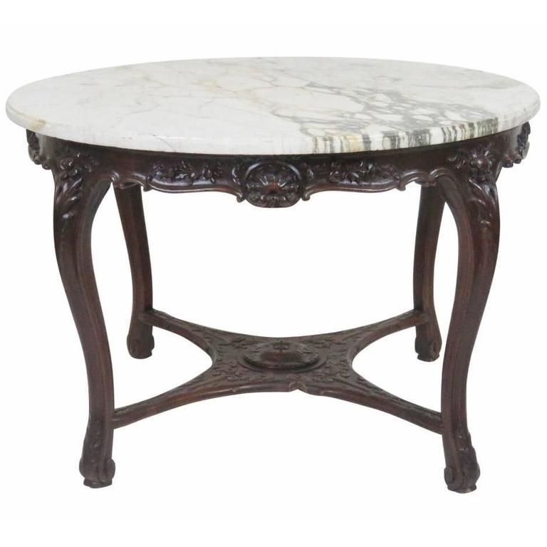 Victorian Marble-Top Carved Center Table