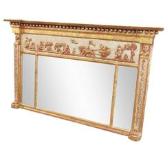 Antique Italian Painted and Gilt Trumeau Mirror