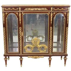 Louis XVI Style Marble-Top Vitrine Attributed to Linke